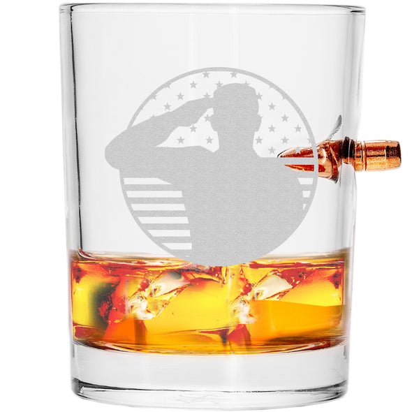 .308 Bullet Whiskey Glass - Soldier Patriotic