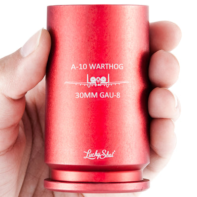 "30MM A-10 WARTHOG SHELL Shot Glass - Engraved with ""A-10 Warthog - 30mm Gau 8"""