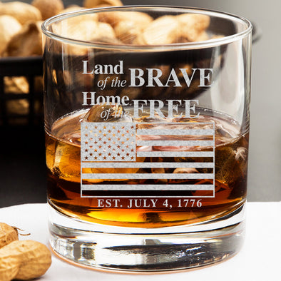 Whiskey Glass - Land of The Brave, Home of The Free