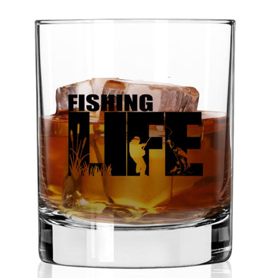 Whiskey Glass - Fishing Life Silhouette