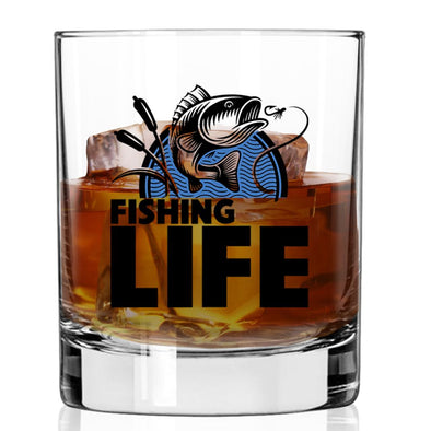 Whiskey Glass - Fishing Life Jumping Fish