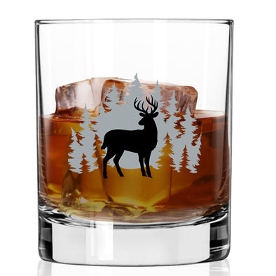 Whiskey Glass - Deer Scene