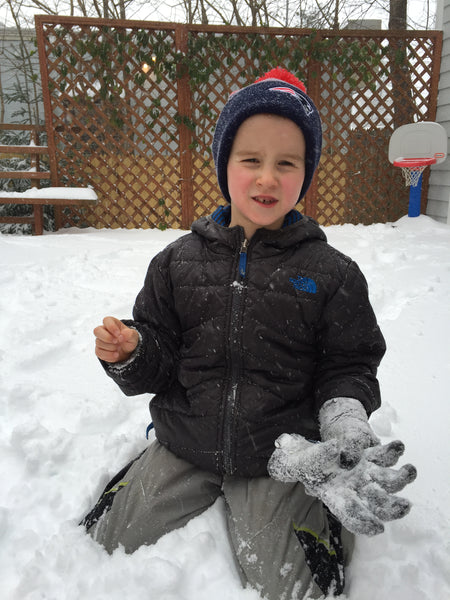 Kid with regular gloves on constantly falling off or getting snow into them