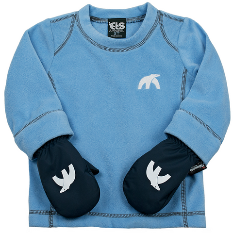 Blue Cubbies with mittens zipped on