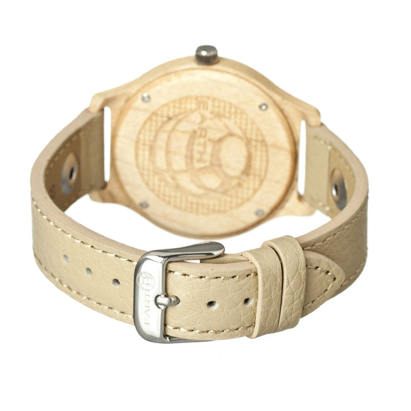 Earth Wood Tannins Leather-Band Watch - Khaki/Tan - Earth Wood Goods - Wood Watches, Wood Sunglasses, Natural Cork Bags