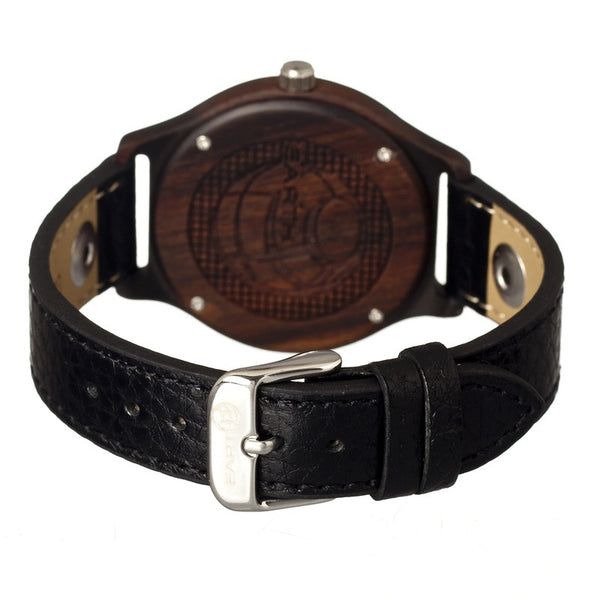 Earth Wood Tannins Leather-Band Watch - Dark Brown - Earth Wood Goods - Wood Watches, Wood Sunglasses, Natural Cork Bags
