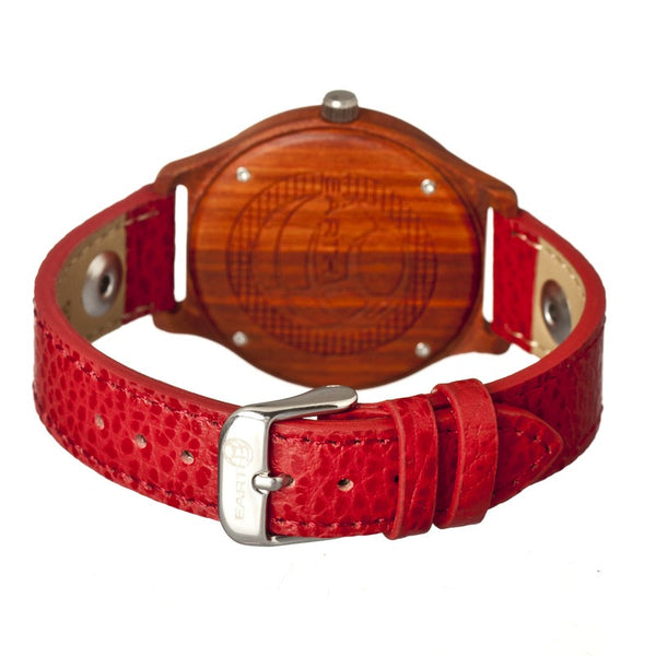 Earth Wood Tannins Leather-Band Watch - Red - Earth Wood Goods - Wood Watches, Wood Sunglasses, Natural Cork Bags