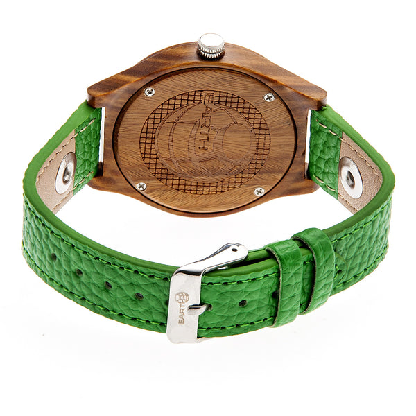 Earth Wood Tannins Leather-Band Watch - Olive - Earth Wood Goods - Wood Watches, Wood Sunglasses, Natural Cork Bags
