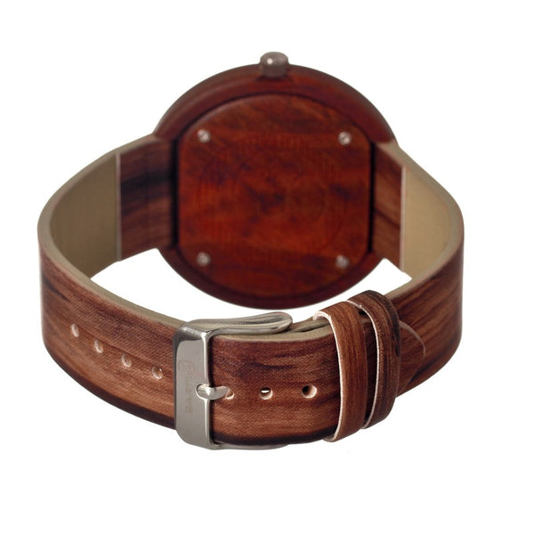 Earth Wood Ligna Leather-Band Watch - Red - Earth Wood Goods - Wood Watches, Wood Sunglasses, Natural Cork Bags