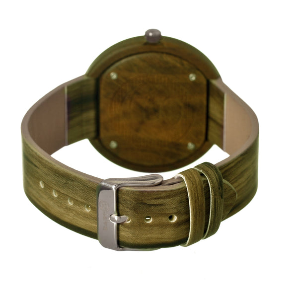 Earth Wood Ligna Leather-Band Watch -Olive - Earth Wood Goods - Wood Watches, Wood Sunglasses, Natural Cork Bags