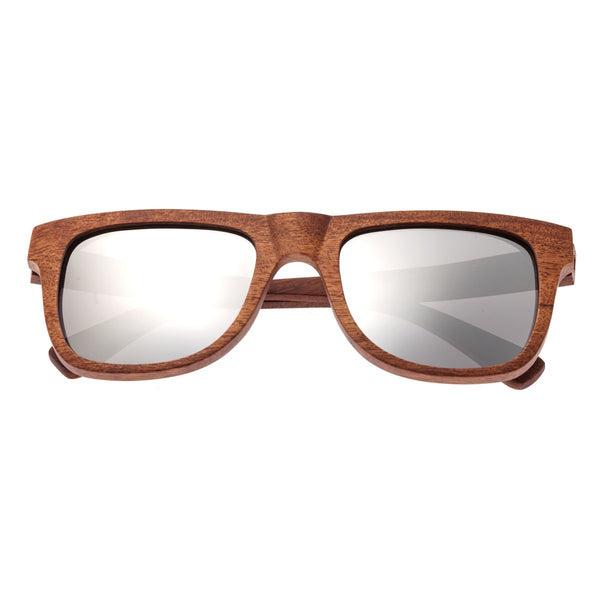 Earth Wood Hampton Sunglasses w/ Polarized Lenses - Red Rosewood/Silver - Earth Wood Goods - Wood Watches, Wood Sunglasses, Natural Cork Bags