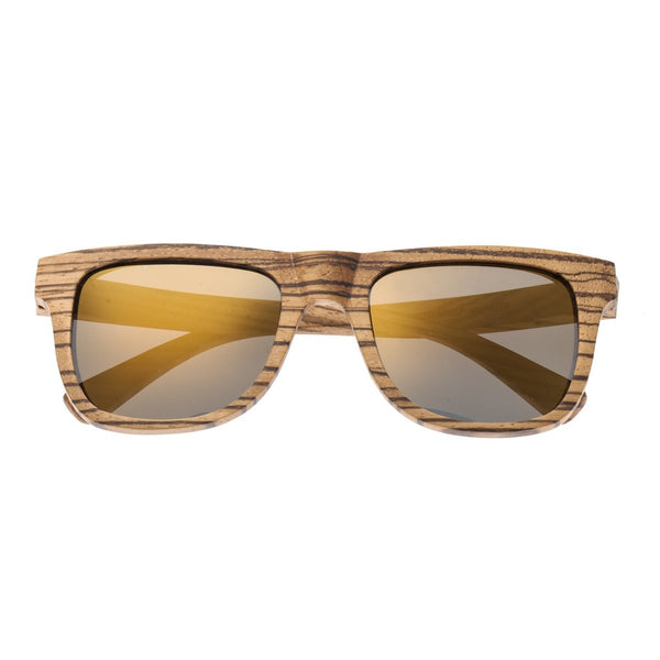 Earth Wood Hampton Sunglasses w/ Polarized Lenses - Zebrawood/Gold-Black - Earth Wood Goods - Wood Watches, Wood Sunglasses, Natural Cork Bags