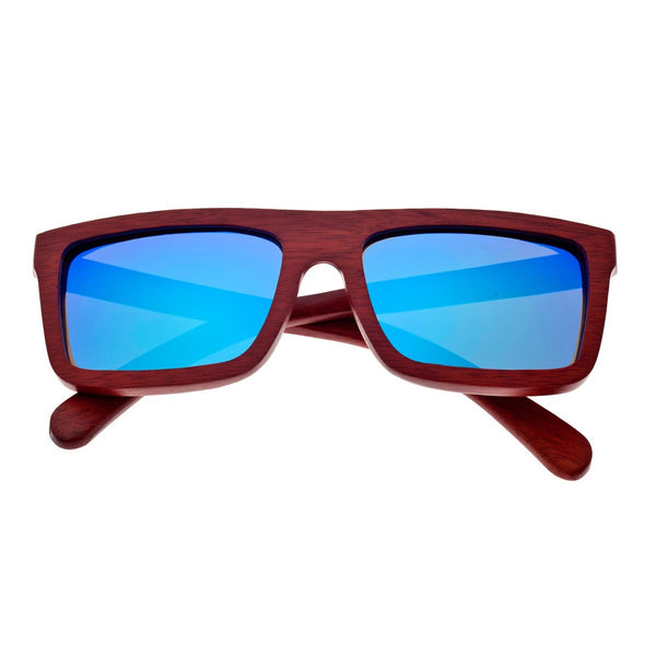 Earth Wood Hamoa Sunglasses w/ Polarized Lenses - Red Rosewood/Blue - Earth Wood Goods - Wood Watches, Wood Sunglasses, Natural Cork Bags