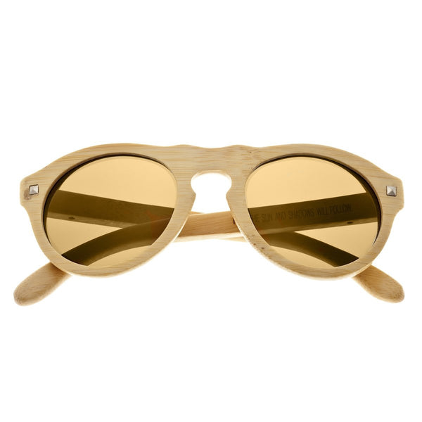 Earth Wood Sunset Sunglasses w/ Polarized Lenses - Khaki/Gold - Earth Wood Goods - Wood Watches, Wood Sunglasses, Natural Cork Bags