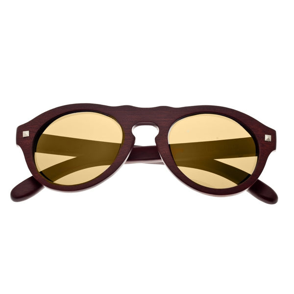 Earth Wood Sunset Sunglasses w/ Polarized Lenses - Red Rosewood/Gold - Earth Wood Goods - Wood Watches, Wood Sunglasses, Natural Cork Bags