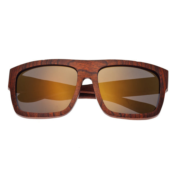 Earth Wood Hermosa Sunglasses w/ Polarized Lenses - Orange Stripe/Gold - Earth Wood Goods - Wood Watches, Wood Sunglasses, Natural Cork Bags