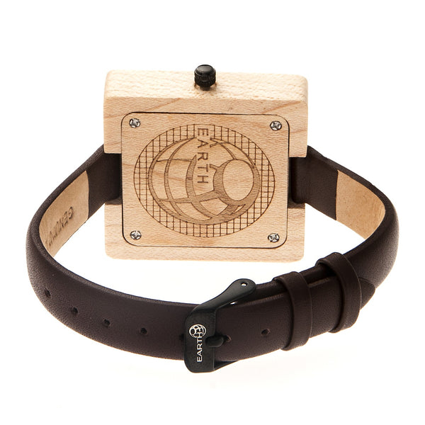 Earth Wood Teton Leather-Band Watch - Khaki/Tan - Earth Wood Goods - Wood Watches, Wood Sunglasses, Natural Cork Bags