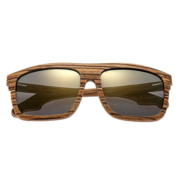 Earth Wood Aroa Sunglasses w/Polarized Lenses - Zebrawood/Gold-Black - Earth Wood Goods - Wood Watches, Wood Sunglasses, Natural Cork Bags