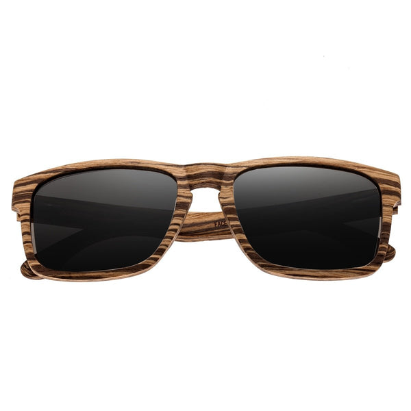 Earth Wood Whitehaven Sunglasses w/ Polarized Lenses - Zebrawood/Black - Earth Wood Goods - Wood Watches, Wood Sunglasses, Natural Cork Bags