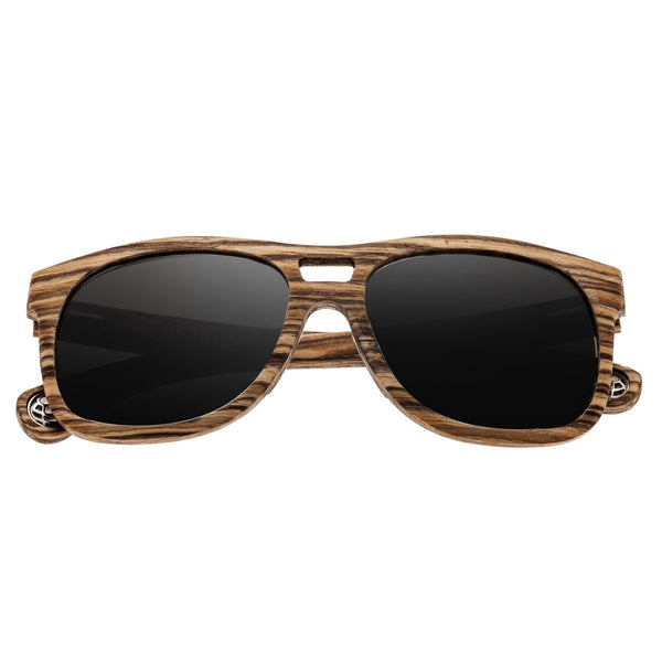 Earth Wood Las Islas Sunglasses w/ Polarized Lenses - Zebrawood/Silver