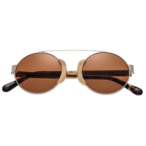 Earth Wood Talisay Sunglasses w/ Polarized Lenses - Gold/Brown - Earth Wood Goods - Wood Watches, Wood Sunglasses, Natural Cork Bags