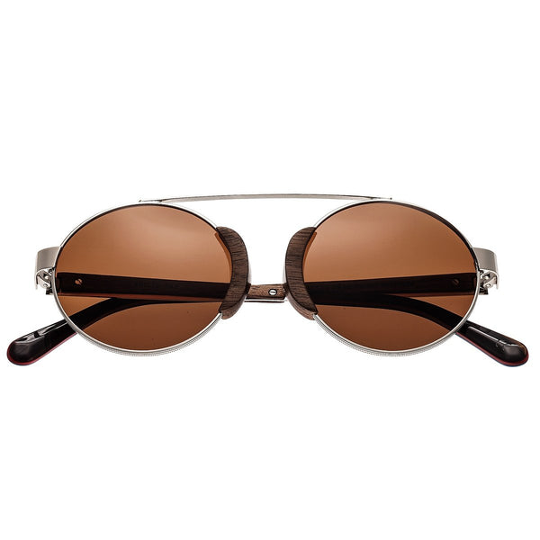 Earth Wood Talisay Sunglasses w/ Polarized Lenses - Silver/Brown