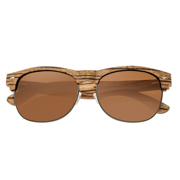 Earth Wood Moonstone Sunglasses w/ Polarized Lenses - Zebra/Brown - Earth Wood Goods - Wood Watches, Wood Sunglasses, Natural Cork Bags