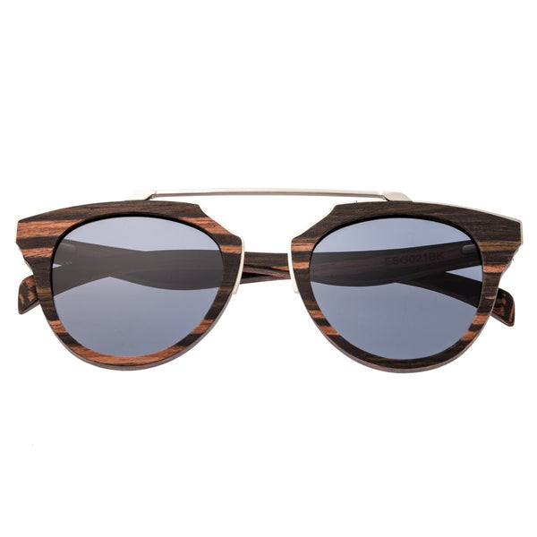Earth Wood Ceira Sunglasses w/ Polarized Lenses - Brown Stripe/Black