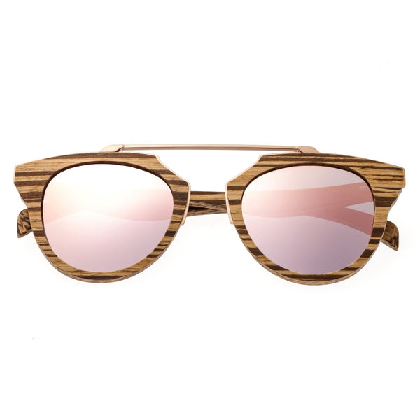 Earth Wood Ciera Sunglasses w/ Polarized Lenses - Zebrawood/Rose Gold - Earth Wood Goods - Wood Watches, Wood Sunglasses, Natural Cork Bags
