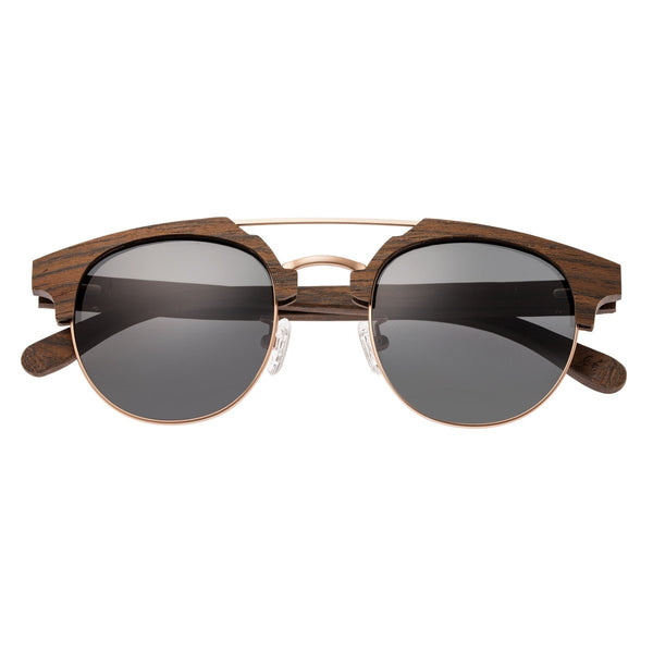 Earth Wood Kai Sunglasses w/ Polarized Lenses - Walnut Zebrawood/Black