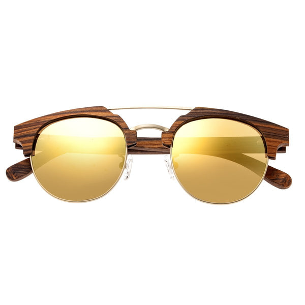 Earth Wood Kai Sunglasses w/ Polarized Lenses - Brown Stripe/Gold - Earth Wood Goods - Wood Watches, Wood Sunglasses, Natural Cork Bags