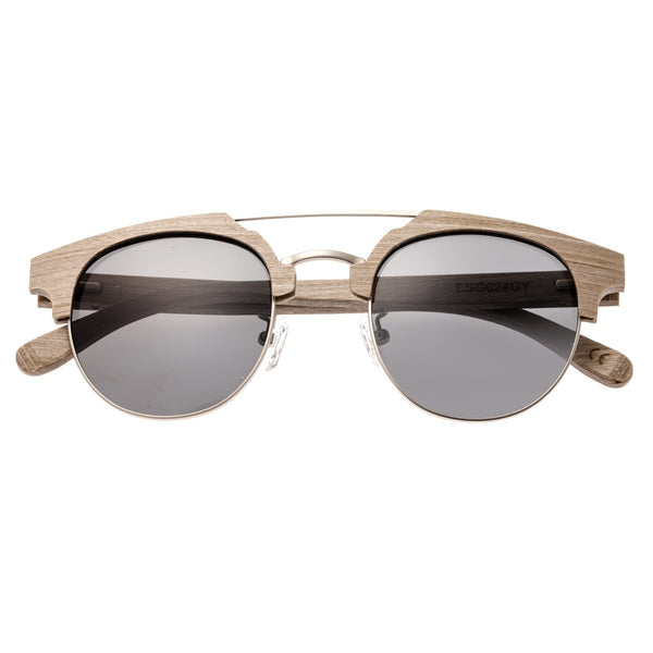Earth Wood Kai Sunglasses w/ Polarized Lenses - Beige/Silver - Earth Wood Goods - Wood Watches, Wood Sunglasses, Natural Cork Bags