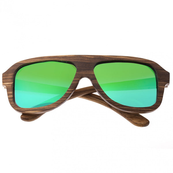 Earth Wood Siesta Sunglasses w/ Polarized Lenses - Brown Zebra/Green - Earth Wood Goods - Wood Watches, Wood Sunglasses, Natural Cork Bags