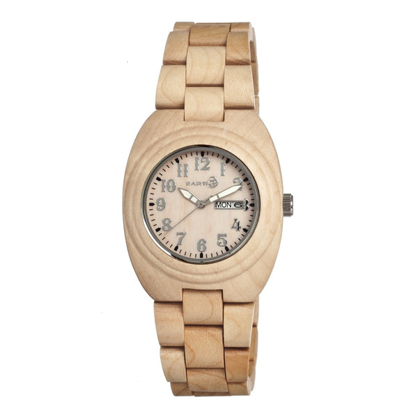 Earth Wood Hilum Bracelet Watch W/Day/Date - Khaki/Tan - Earth Wood Goods - Wood Watches, Wood Sunglasses, Natural Cork Bags