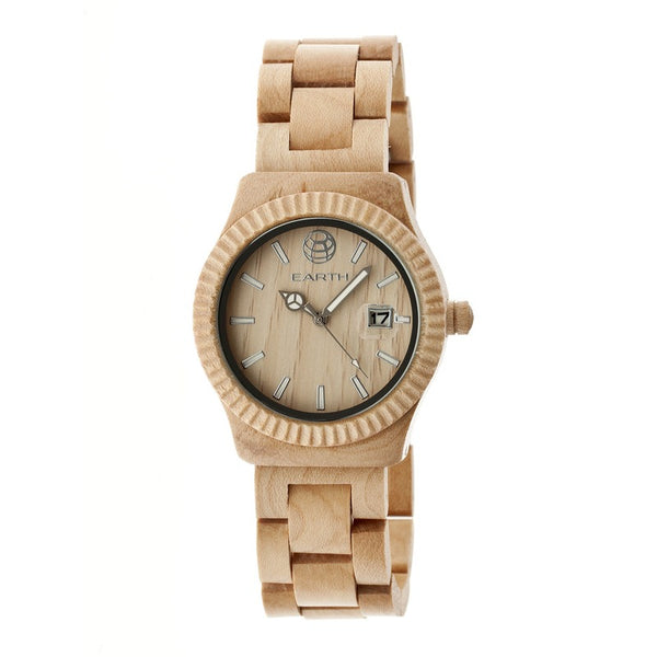 Earth Wood Pith Bracelet Watch w/Date - Khaki/Tan - Earth Wood Goods - Wood Watches, Wood Sunglasses, Natural Cork Bags
