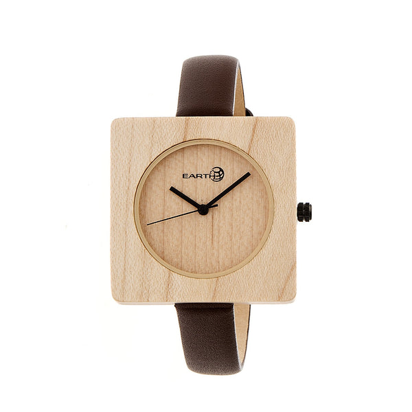 Earth Wood Teton Leather-Band Watch - Khaki/Tan