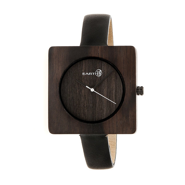 Earth Wood Teton Leather-Band Watch - Dark Brown