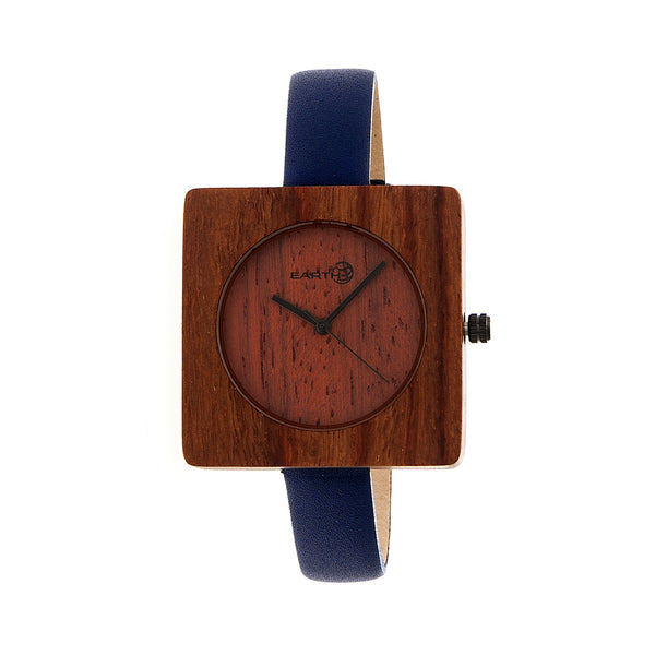Earth Wood Teton Leather-Band Watch - Red
