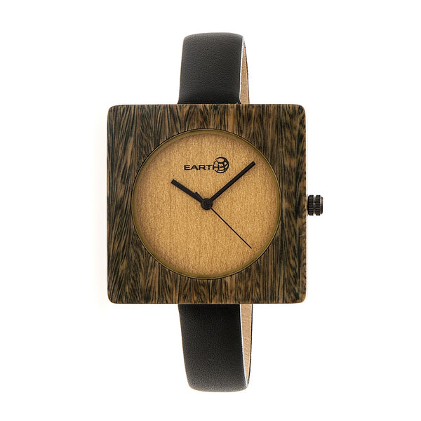 Earth Wood Teton Leather-Band Watch - Olive - Earth Wood Goods - Wood Watches, Wood Sunglasses, Natural Cork Bags