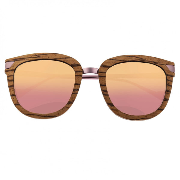 Earth Wood Nissi Sunglasses w/Polarized Lenses - Zebrawood/Rose Gold - Earth Wood Goods - Wood Watches, Wood Sunglasses, Natural Cork Bags