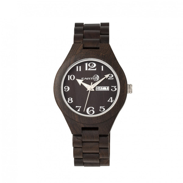 Earth Wood Sapwood Bracelet Watch w/Date - Dark Brown - Earth Wood Goods - Wood Watches, Wood Sunglasses, Natural Cork Bags