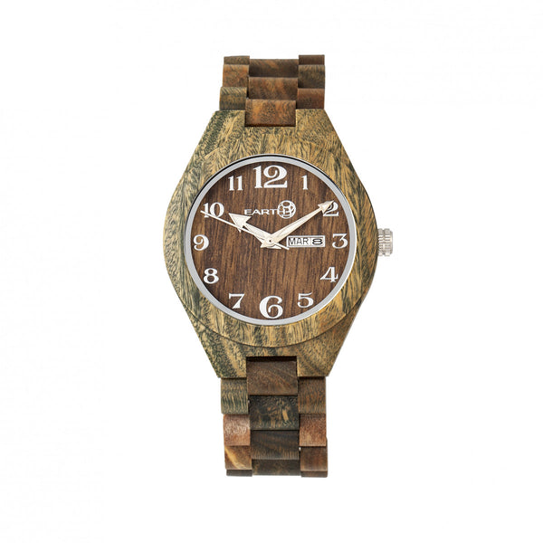 Earth Wood Sapwood Bracelet Watch w/Date- Olive - Earth Wood Goods - Wood Watches, Wood Sunglasses, Natural Cork Bags