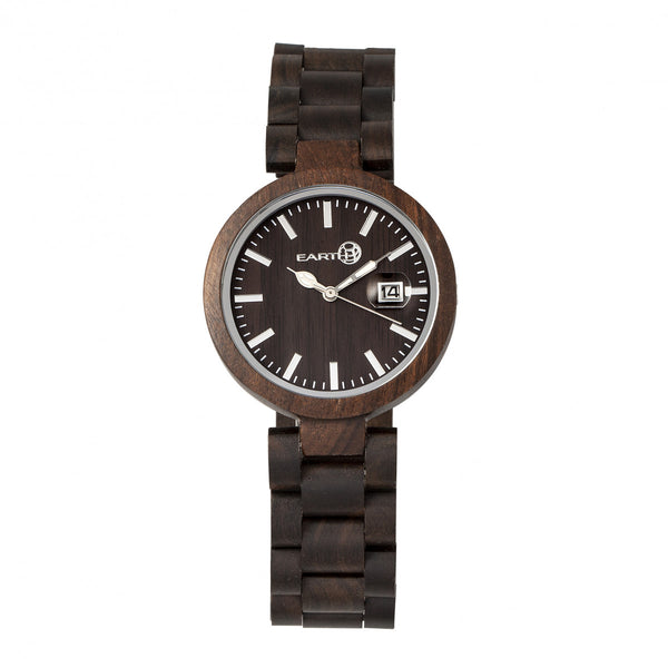 Earth Wood Stomates Bracelet Watch w/Date - Dark Brown - Earth Wood Goods - Wood Watches, Wood Sunglasses, Natural Cork Bags