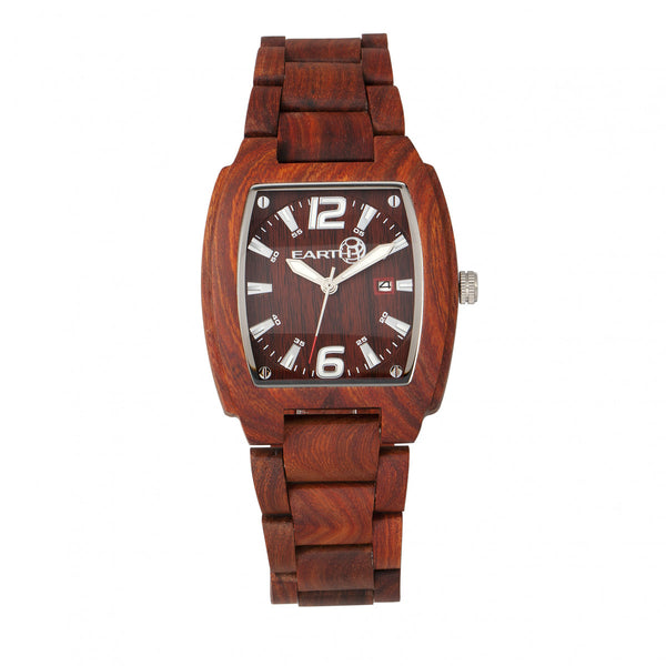 Earth Wood Sagano Bracelet Watch w/Date - Red - Earth Wood Goods - Wood Watches, Wood Sunglasses, Natural Cork Bags