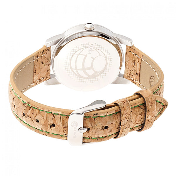 Earth Wood Canopies Leather-Band Watch - Silver/Green - Earth Wood Goods - Wood Watches, Wood Sunglasses, Natural Cork Bags