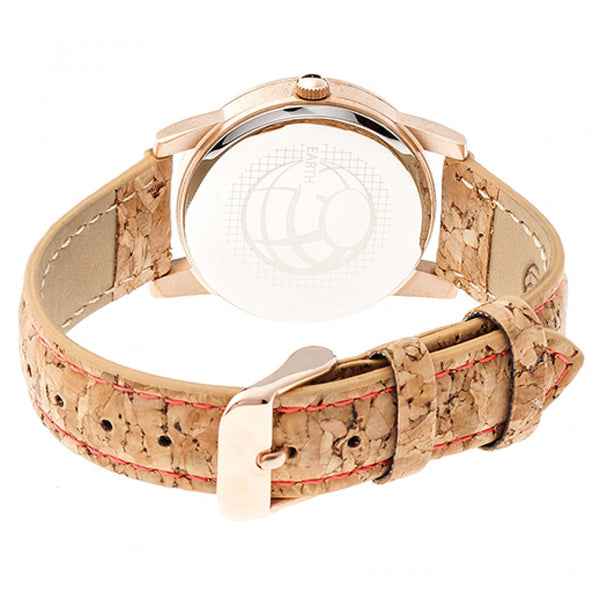 Earth Wood Canopies Leather-Band Watch - Rose Gold/Red - Earth Wood Goods - Wood Watches, Wood Sunglasses, Natural Cork Bags