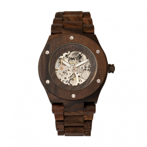 Earth Wood Grand Mesa Automatic Skeleton Bracelet Watch - Dark Brown - Earth Wood Goods - Wood Watches, Wood Sunglasses, Natural Cork Bags