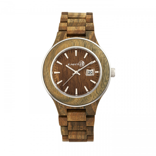 Earth Wood Cherokee Bracelet Watch w/Magnified Date - Olive - Earth Wood Goods - Wood Watches, Wood Sunglasses, Natural Cork Bags