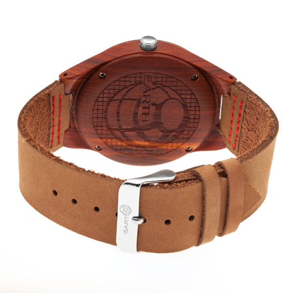 Earth Wood Aztec Leather-Band Watch - Red - Earth Wood Goods - Wood Watches, Wood Sunglasses, Natural Cork Bags