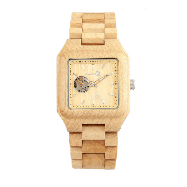 Earth Wood Black Rock Automatic Bracelet Watch - Khaki/Tan - Earth Wood Goods - Wood Watches, Wood Sunglasses, Natural Cork Bags
